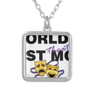World's Best Theatre Mom Square Pendant Necklace