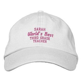 World's Best THIRD GRADE TEACHER Custom Name PINK Embroidered Baseball Hat