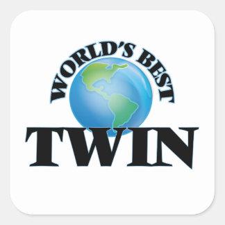 World's Best Twin Square Sticker