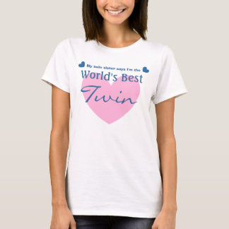 World's Best TWIN with Pink Heart V01 T-Shirt