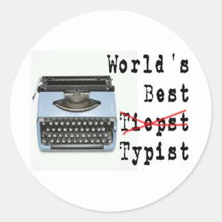 World's Best Typist Classic Round Sticker