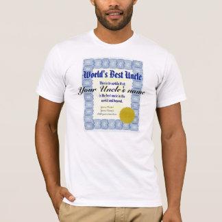 World's Best Uncle Certificate T-Shirt
