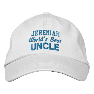 World's Best UNCLE Custom Name BLUE Embroidered Hat