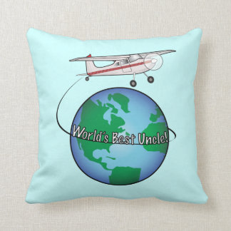 World's Best Uncle with Airplane Throw Pillow