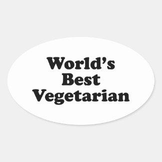 World's Best Vegetarian Oval Sticker