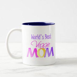 World's Best Veggie Mom Mug/Cup Two-Tone Coffee Mug