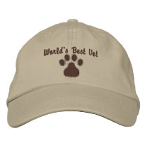 World's Best Vet with Paw Print Embroidered Baseball Cap