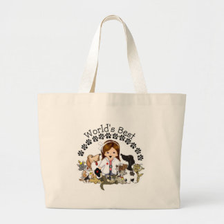 World's Best Veterinarian -Female Brown Hair Large Tote Bag
