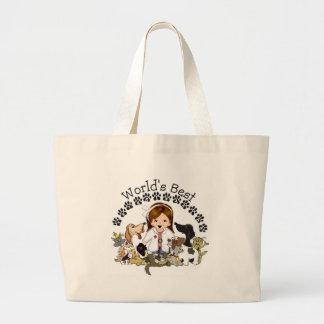 World's Best Veterinarian -Female Brown Hair Large Tote Bag