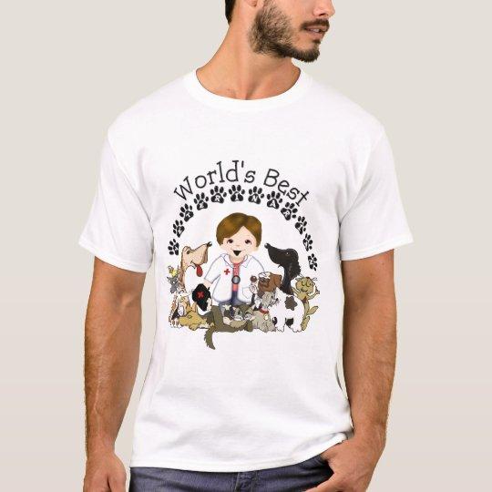 World's Best Veterinarian - Male Brown Hair T-Shirt