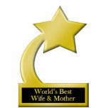 World's Best Wife & Mother, Gold Star Award Trophy Standing Photo Sculpture