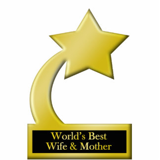 World's Best Wife & Mother, Gold Star Award Trophy Statuette