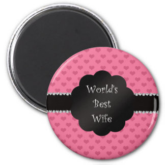 World's best wife pink hearts 2 inch round magnet