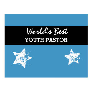 Worlds Best YOUTH PASTOR Blue with Star A01 Postcard