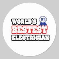World's Bestest Electrician Round Sticker