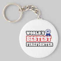 World's Bestest Firefighter Basic Round Button Keychain