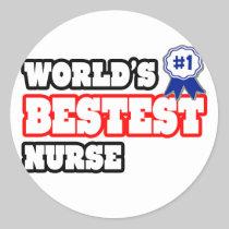 World's Bestest Nurse Round Sticker