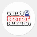 World's Bestest Pharmacist Classic Round Sticker