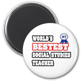World's Bestest Social Studies Teacher 2 Inch Round Magnet
