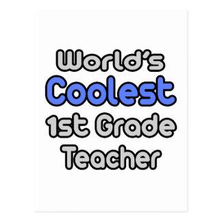 World's Coolest 1st Grade Teacher Postcard