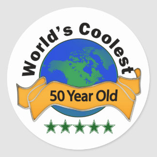 World's Coolest 50 Year Old Classic Round Sticker