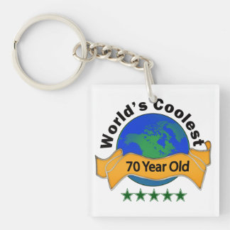 World's Coolest 70 Year Old Single-Sided Square Acrylic Keychain
