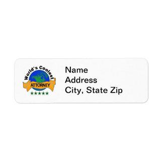 World's Coolest Attorney Return Address Labels