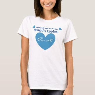 World's COOLEST Aunt Blue Heart V17 WHITE Shirt