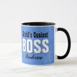 World's Coolest BOSS Blue Grunge Custom Name V21C Mug