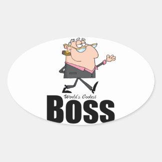 World's Coolest Boss Oval Sticker