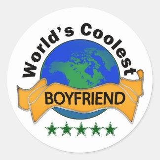 World's Coolest Boyfriend Classic Round Sticker