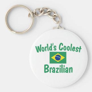 World's Coolest Brazilian Basic Round Button Keychain
