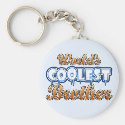 Basic Button Keychain with World's Coolest Brother design
