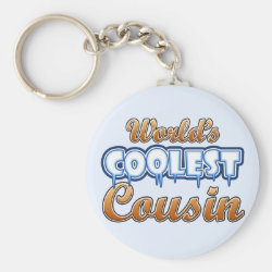 Basic Button Keychain with World's Coolest Cousin design