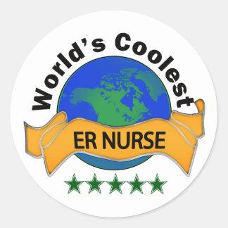 World's Coolest ER Nurse Classic Round Sticker