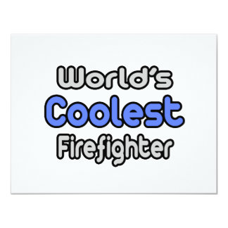 World's Coolest Firefighter 4.25x5.5 Paper Invitation Card