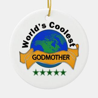 World's Coolest Godmother Ceramic Ornament