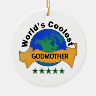 World's Coolest Godmother Double-Sided Ceramic Round Christmas Ornament