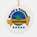 World's Coolest Hospice Nurse Double-Sided Ceramic Round Christmas Ornament