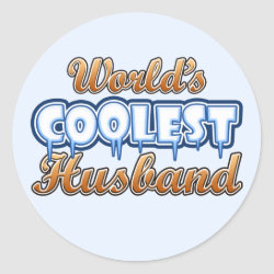 Round Sticker with World's Coolest Husband design