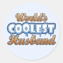 Round Sticker with World's Coolest Husband design