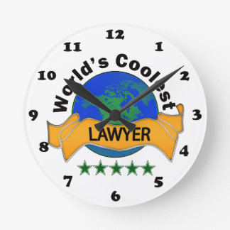 World's Coolest Lawyer Round Wallclocks