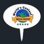 "World&#39;s Coolest Medical Assistant Cake Topper<br><div class=""desc"">Globe and ribbon design for the world&#39;s coolest medical assistant</div>"
