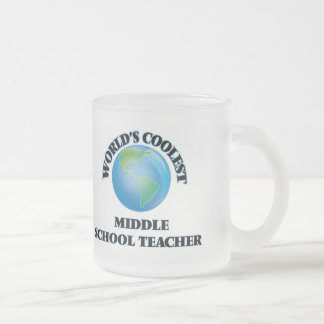 World's coolest Middle School Teacher Frosted Glass Coffee Mug