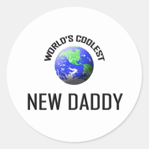 World's Coolest New Daddy Round Stickers