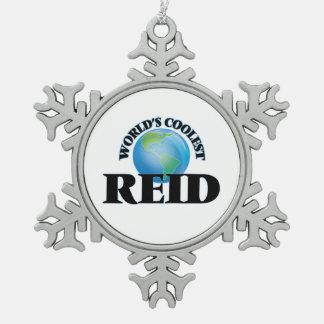World's Coolest Reid Snowflake Pewter Christmas Ornament