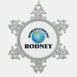 World's Coolest Rodney Snowflake Pewter Christmas Ornament