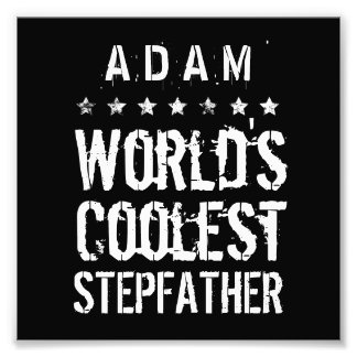 World's Coolest STEPFATHER Black White Stars J01Z Photo Print