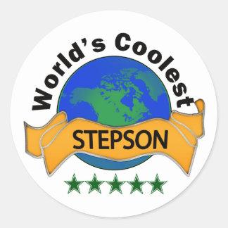 World's Coolest Stepson Classic Round Sticker