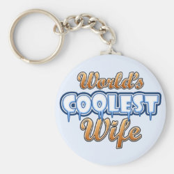 Basic Button Keychain with World's Coolest Wife design